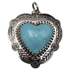 Sterling Silver Native American Indian Turquoise Heart Pendant