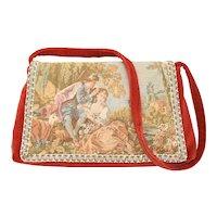 'Carpetbag of America' Red Velvet w/ Charming Colonial Couple Motif Shoulder Bag Handbag
