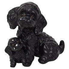 c1970s Harvey Knox Black Bichon or Miniature Poodle Dog / Puppy Ceramic Figurine Sculpture