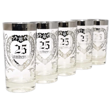 Set of 5 Silver Trim 25th Wedding Anniversary Heart Stencil Celebratory Glass Tumbler Drinking Glasses