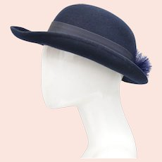 Deborah New York Designer Ladies Navy Blue Wool w/ Small Pouf Accent Bowler Hat