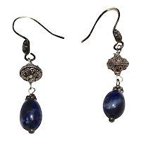 Sterling Silver Etruscan Style Blue Sodalite Gemstone Filigree Beadwork Dangle Earrings