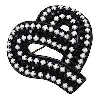 LMD Designer Signed Japanned Metal Black & White Opaque Glass Heart Pin/Brooch