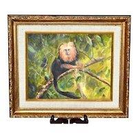 "Original Oil on Board Golden Lion Tamarin Monkey Wild Animal Gold Gilt 14"" x 12"" Wood Frame Painting"