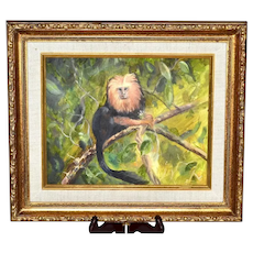 "Original Oil on Board Golden Lion Tamarin Monkey Wild Animal Gold Gilt 14"" x 12"" Wood Frame Painting"
