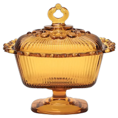 c1950s Indiana Glass Heavy Ribbed Amber Glass Footed Lace Edge Candy Dish / Compote w/ Original Finial Lid