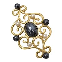 """Monet Signed 3"""" Large Designer Black & White Faux Pearl Gold-Tone Scrollwork Pin/Brooch"""