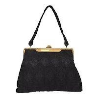 c1940s Black Corde Fabric Brass Plated Frame Retro Era Handbag Purse