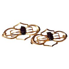 Gold Filled Pair of Simulated Amethyst Purple Glass Stone Lingerie Pins