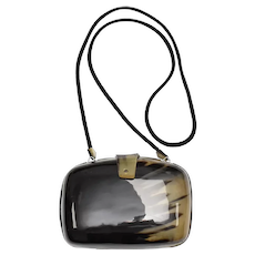 c1970s Simulated Tortoise Shell Lucite Minaudière Purse Clutch w/ Optional Fabric Straps for Shoulder Bag