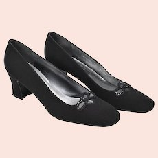 Stuart Weitzman Designer Black Fabric & Rhinestone Classic Pumps / Heels - Size 8