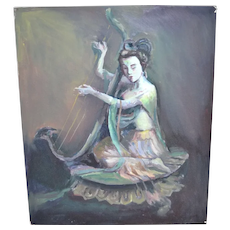 Original Signed Guan Yin 'Goddess of Mercy' Playing Harp Musical Instrument Asian Deity Oil Painting