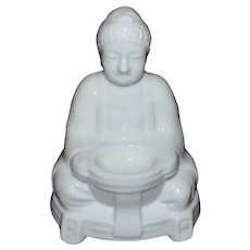 Buddha Deity Blanc de Chine Style White Porcelain Incense Burner - Made in Japan