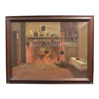 c1880s Original Oil on Canvas Early Americana Rustic Cabin Home w/ Black Cast Iron Cauldron Pot in Open Fire Framed Painting