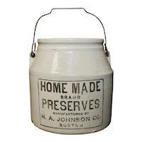 "H.A. Johnson Boston ""Home Made Brand Preserves"" Primitive White Ceramic Crock Jar w/ Original Lid"