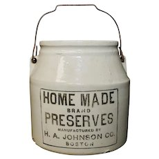 "H.A. Johnson Boston ""Home Made Brand Preserves"" Primitive White Ceramic Crock Jar w/ Original Lid"
