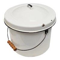 Large White Enamel Rustic Bucket w/ Original Lid & Carved Wood Handle