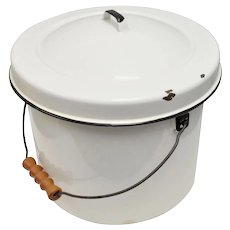 Large White Enamel Rustic Bucket w/ Original Lid & Carved Wood Handle