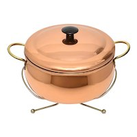 Mid-Century Copper Clad & Brass Handle Server / Serving Dish with Original Lid & Stand