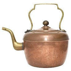 Copper & Mixed Metal Brass Handled Tea Pot