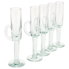 Set of 5 Glass Long Stem Handled Cordial Glasses