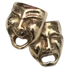 14k Gold Anson Jewelry Comedy & Tragedy Masks Tie Tack/Pin