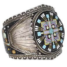 Signed Sterling Silver Rey Flores Silversmith Native American 'Kachina Guarding the Universe' Turquoise, Onyx, Opal, Mother of Pearl Gemstone Inlay Large Southwestern Cuff Bracelet