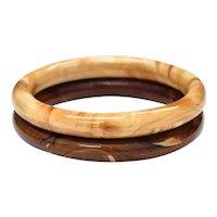 Pair of Swirled Art Glass Caramel & Chocolate Brown Round Dome Bangle Bracelets