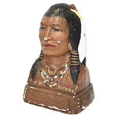 "Heavy 11"" Native American Indian Painted Chalkware Bust Sculpture Statue"
