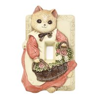 Takahashi Pleasant Kitty Cat w/ Basket of Roses Ceramic Decorative Single Toggle Switchplate