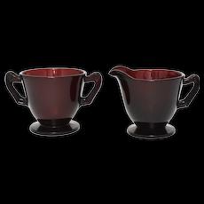 c1940s Anchor Hocking Royal Ruby Red Glass Creamer & Open Sugar Set