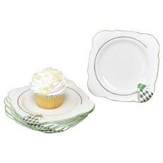 6-Pc Art Deco C.W.S. Windsor China Green & Silver Harlequin Diamond Pattern Square Shape Scalloped Trim White Dessert or Cake Plates