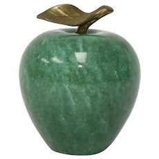 "3"" Green Marbled Granite Stone & Brass Leaf Apple Figural Fruit Accent or Paperweight"
