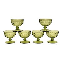 Mid-Century Set of 6 Colony Whitehall Avocado Green Cubist Style Champagne/Tall Sherbet Glasses