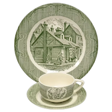 6-Pc Royal China 'The Old Curiosity Shop' Green & White Ceramic Dinner Plate, Tea Cup & Saucer Set
