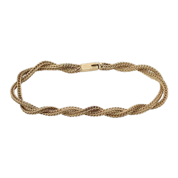 Signed 14K Gold Double Strand Twist Wheat Chain Bracelet