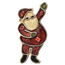 Red & Green Enamel Stylized Christmas Santa Figural Holiday Pin/Brooch