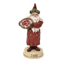Signed Forte Victorian Style Christmas Belsnickel Santa or Old World St. Nicholas Handcrafted Figurine Sculpture Decoration