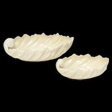 Set of 2 Lenox USA Acanthus Leaf Motif Elongated Ivory White Porcelain Bowls
