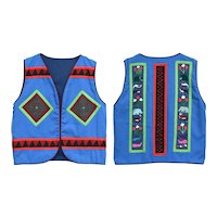 Colorful Blue & Red Handcrafted Animal Embroidery & Geometric Pattern Appliqué  Storyteller Vest