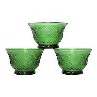 3-Pc Indiana Glass Tiara Sandwich Emerald Green Flower & Leaf Motif Depression Glass Small Custard or Dessert Bowls
