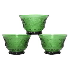 3-Pc Indiana Glass Tiara Sandwich Emerald Green Flower & Leaf Motif Depression Glass Small Custard or Dessert Bowls