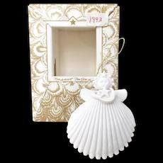 Margaret Furlong Porcelain Designs Moon & Star Sea Shell Angel Christmas Ornament