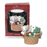 c1998 Hallmark Keepsake Ornament 'Cat Naps' Kitty Cat in Laundry Basket Collector's Series Christmas Ornament