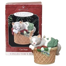 Hallmark Keepsake Ornament 'Cat Naps' Kitty Cat in Laundry Basket Collector's Series Christmas Ornament