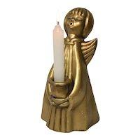 "8"" Metallic Gold Painted Caroling Christmas Angel Chalkware Taper Candle Holder"