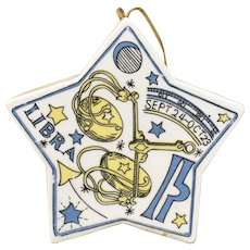 c60s - 70s Andre Richard 'Libra' Zodiac Astrological Sign Filled Ceramic Star Pomander / Christmas Ornament