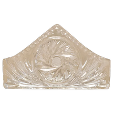 Polonia Glassworks of Poland Crystal Cut Star & Pinwheel Napkin Holder