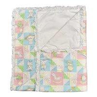 """c1950s Pastel Nursery Pattern 43 """" x 33 """" Quilted Ruffle Trim Children's Blanket"""
