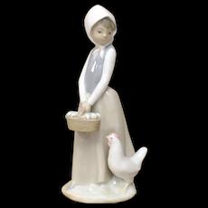 """c1982 Zaphir Lladro Spain """"Chicken Feed"""" Porcelain Girl w/ Spring Chicks in a Basket Sculpture Figurine"""